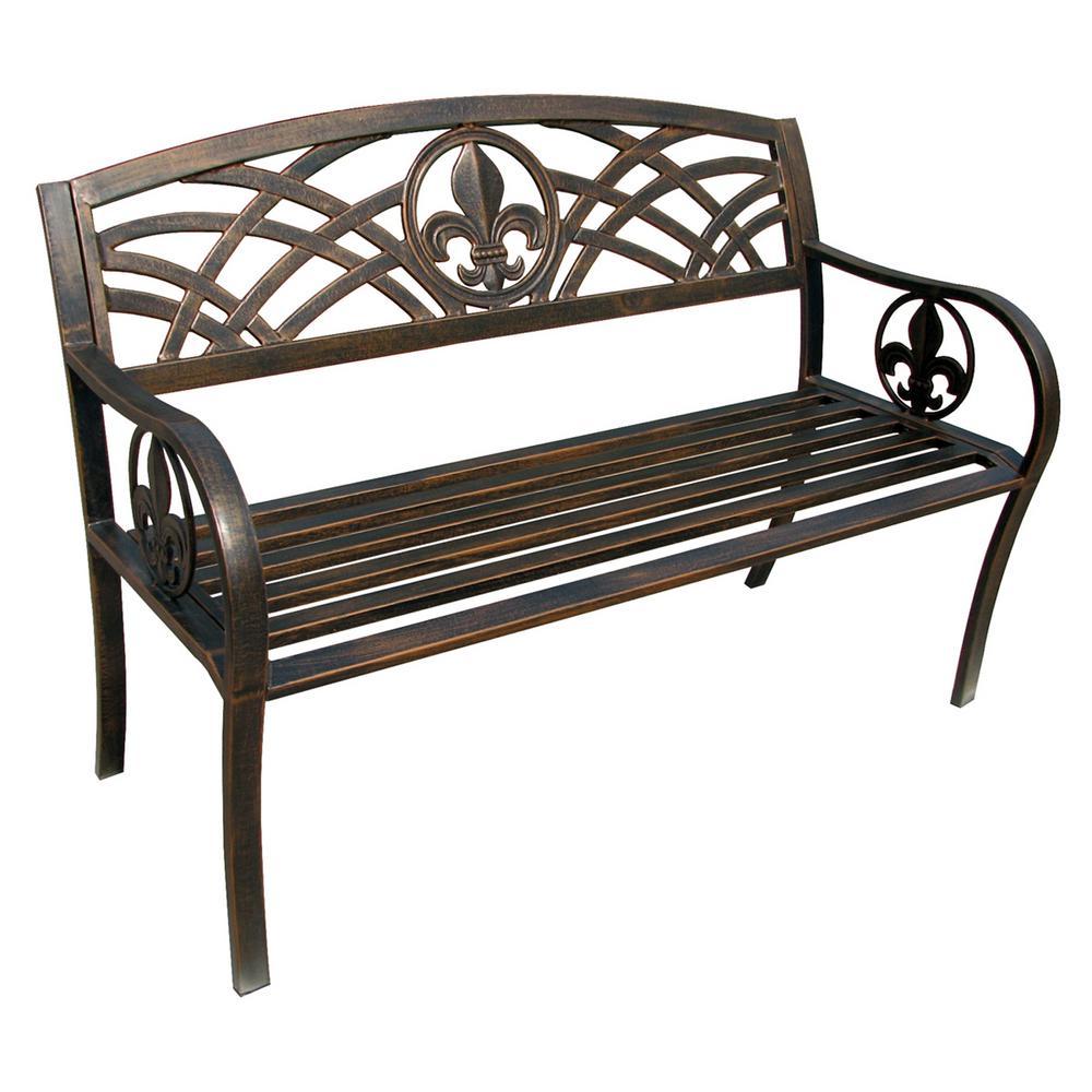 patio benches leigh country fleur de lis metal patio bench SADOYVI