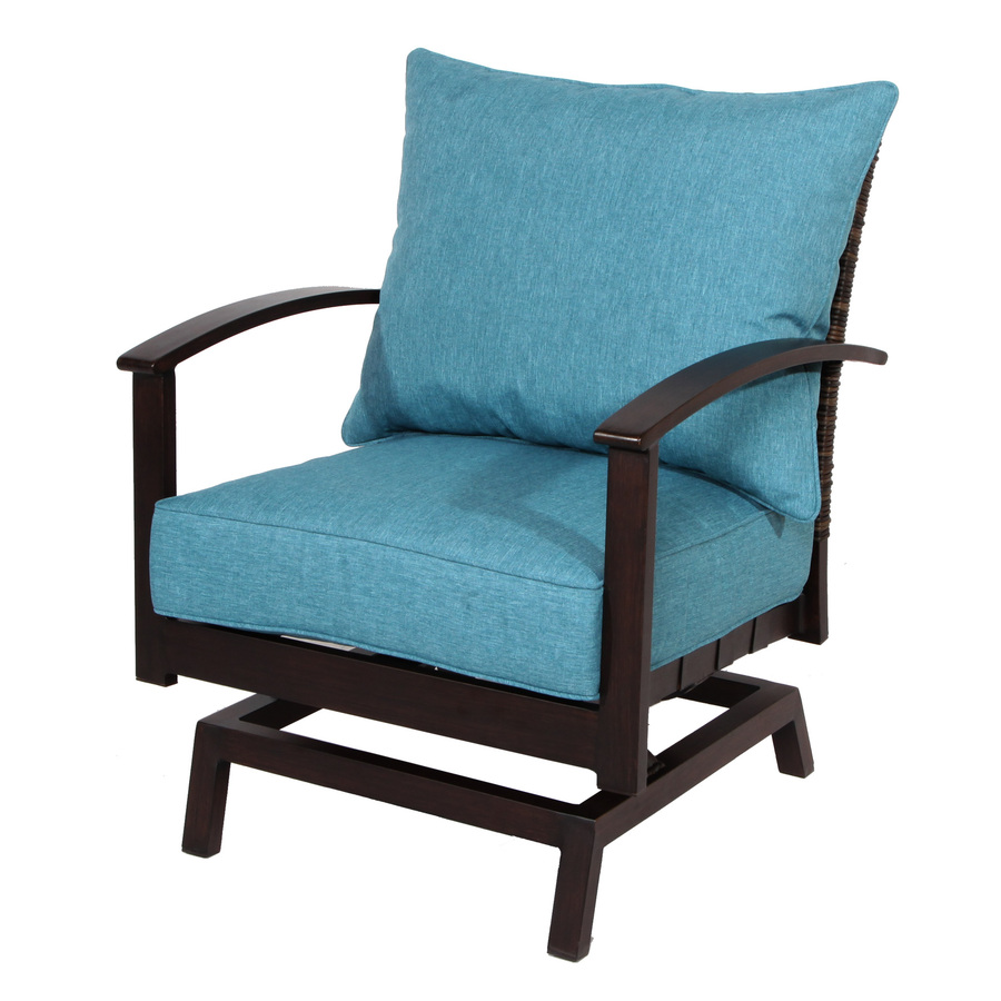 patio chair allen + roth atworth set of 2 aluminum conversation chairs with peacockblue LWSMZKY