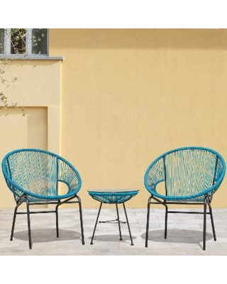 patio chair sarcelles woven wicker patio chairs by corvus (set of 2) (blue - QXDWJBB