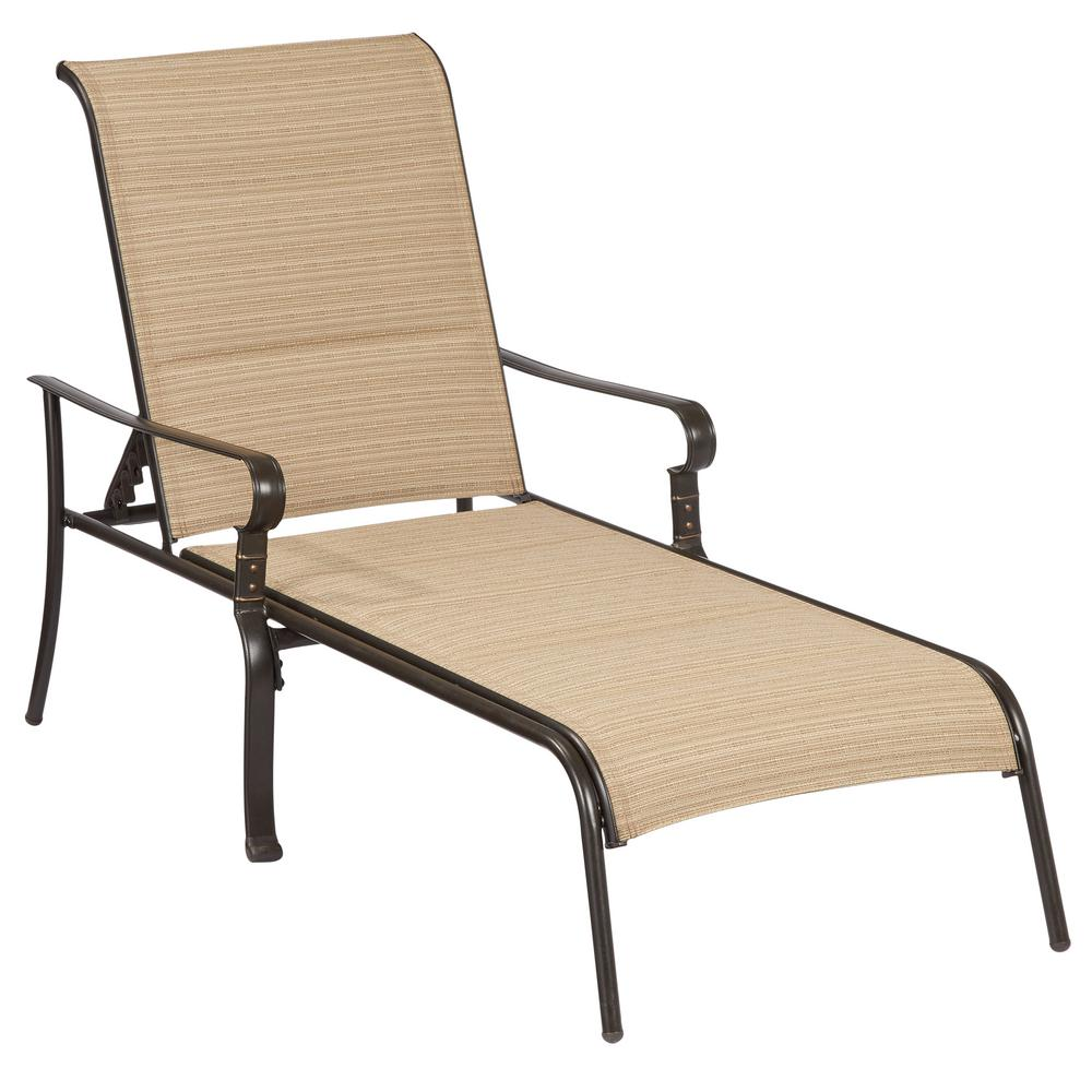 patio chaise lounge hampton bay belleville padded sling outdoor chaise lounge YLDHPAC