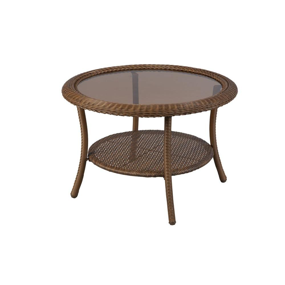 patio coffee table brown all-weather wicker round outdoor