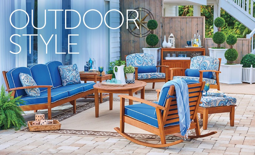 patio decorating ideas outdoor living space with eucalyptus patio furniture PFEJNMM