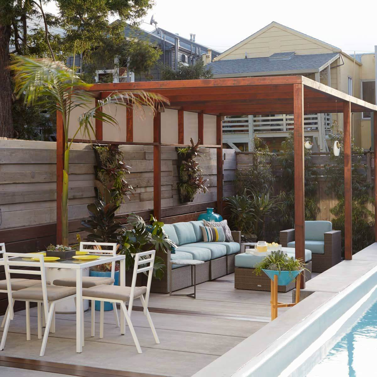 patio designs poolside patio with pergola VYFHCMT