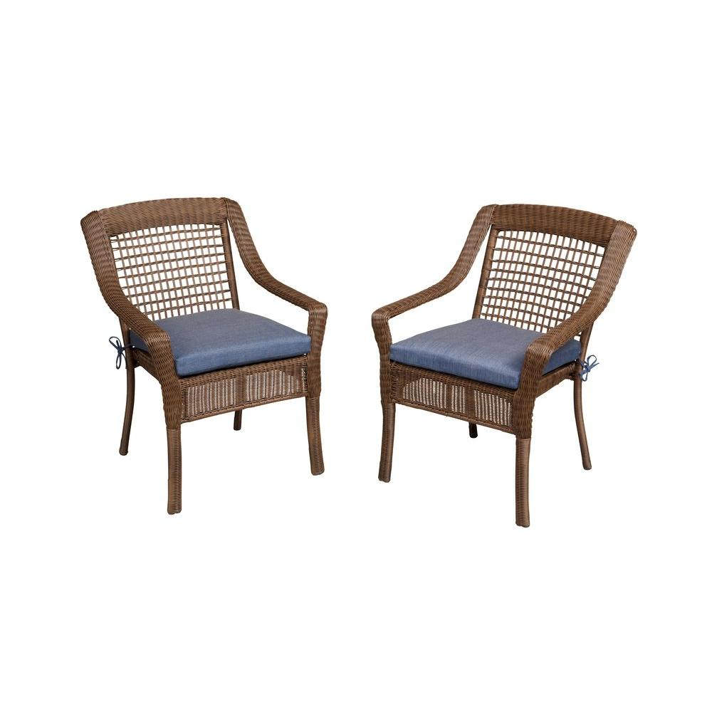 patio dining chairs hampton bay spring haven brown all-weather wicker patio dining chair with KOGJPAA