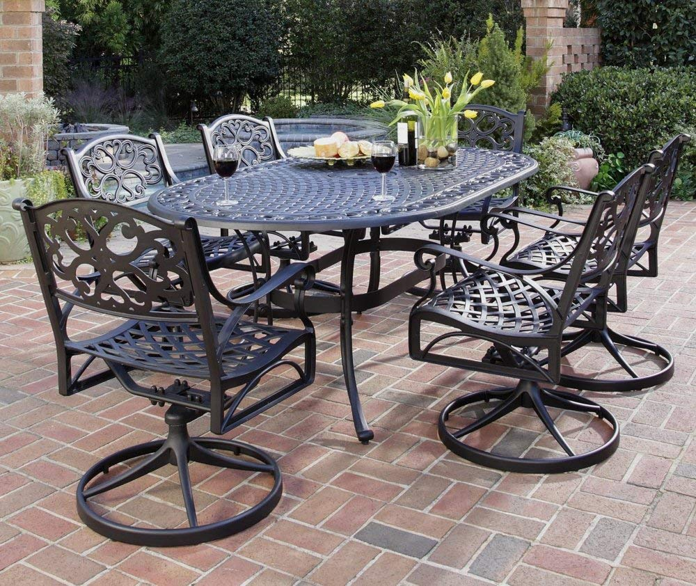 patio dining table amazon.com : home style 5554-33 biscayne oval outdoor dining table, black QFFPOVS