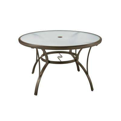 patio dining table commercial grade aluminum brown round