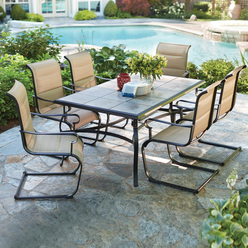 patio dining table hampton bay belleville 7-piece padded sling outdoor dining set JAMEMOV