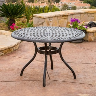 patio dining table outdoor hallandale round cast aluminum bronze dining table (only) by  christopher DSCHHPG