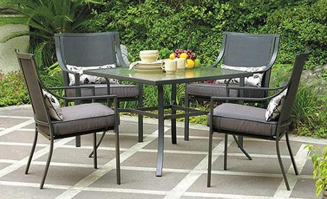 patio dining tables amazon.com: gramercy home 5 piece patio dining table set: garden u0026 outdoor OHMEITX
