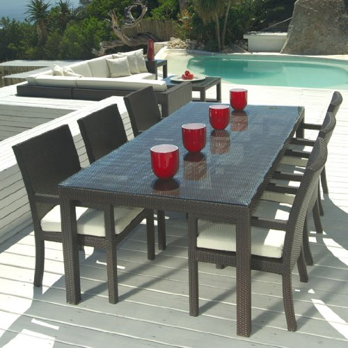patio dining tables amazon.com: outdoor wicker patio furniture new resin 7 pc dining table set FOVXLQE