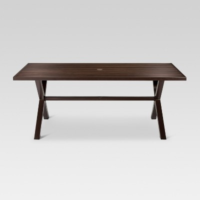 patio dining tables mayhew aluminum top x-base rectangle patio dining table - brown - threshold™ FNHOKFQ
