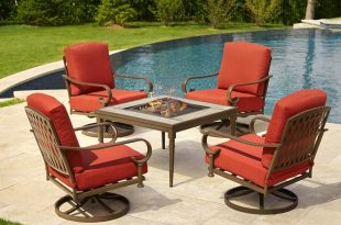 patio furniture hampton bay oak cliff 5-piece metal patio fire pit conversation set with YVZSXYY