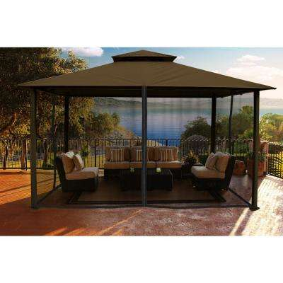 patio gazebo paragon gazebo 11 ft. x 14 ft. with cocoa color sunbrella top DOPJGZU
