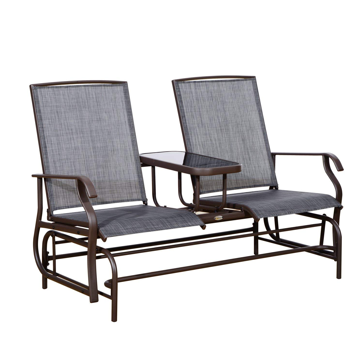patio glider amazon.com : outsunny 2 person outdoor mesh fabric patio double glider FKBXTMX