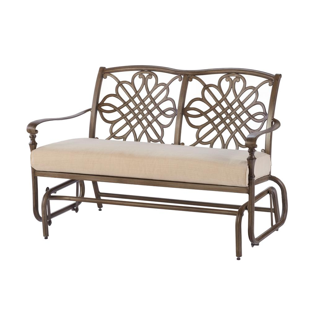 patio glider cavasso metal outdoor glider with oatmeal