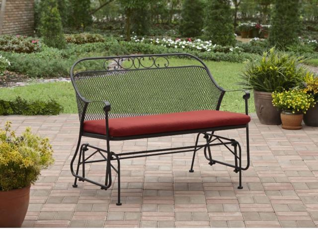 patio glider swing wrought iron metal bench outdoor furniture front porch QEEVXUW