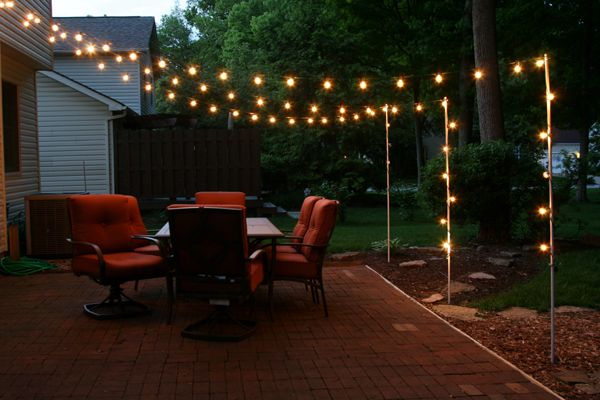 patio lighting support poles for patio lights made from rebar and electrical conduit WHCCRPG