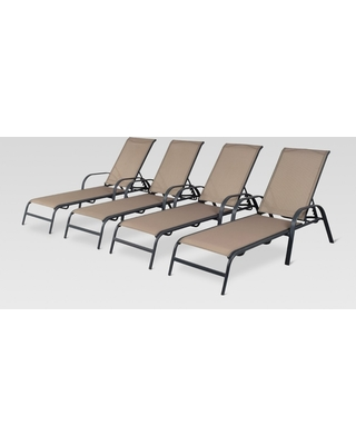 patio lounge chairs 4pk metal stack sling patio lounge chair - tan - threshold YHWLBCF