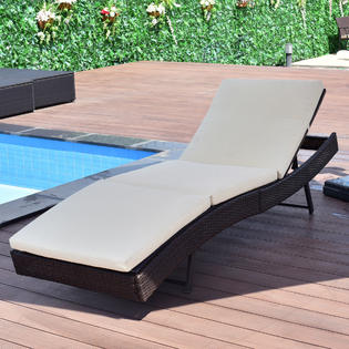patio lounge chairs goplus patio sun bed adjustable pool wicker lounge chair outdoor furniture KKSODUV