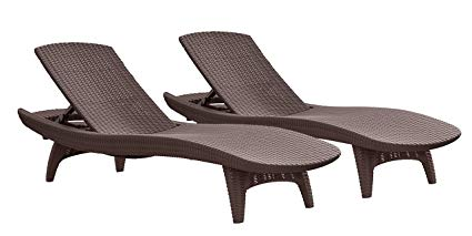 patio lounge chairs keter pacific 2-pack all-weather adjustable outdoor patio chaise lounge  furniture, brown VBNIZSM