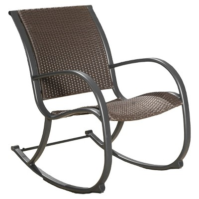 patio rocking chairs gracieu0027s wicker patio rocking chair - brown - christopher knight home QFNJRUZ