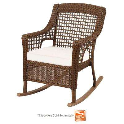 patio rocking chairs spring haven brown wicker outdoor patio rocking chair with cushions ... FALGUXA