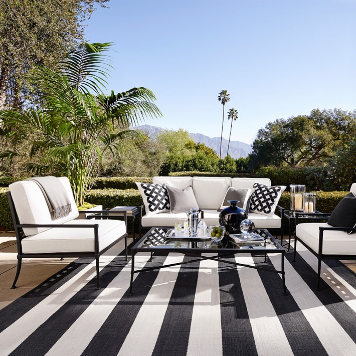 patio rug patio stripe indoor/outdoor rug, black | williams sonoma NGVFVEY
