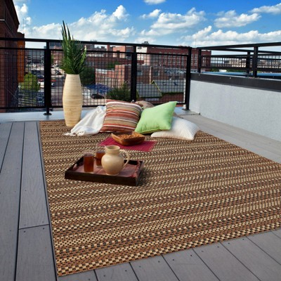 patio rugs edgeman rectangle patio rug - black / natural - balta rugs : QAQSWEU
