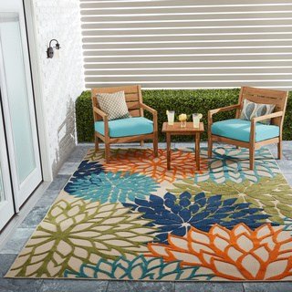 patio rugs nourison aloha floral multicolor indoor/outdoor rug - 7u002710 GGHBKWR