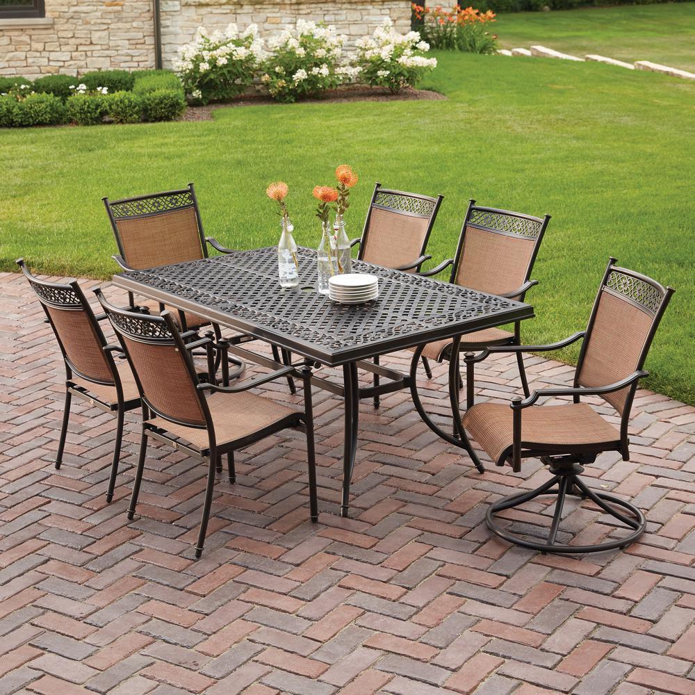 patio sets hampton bay niles park 7-piece sling