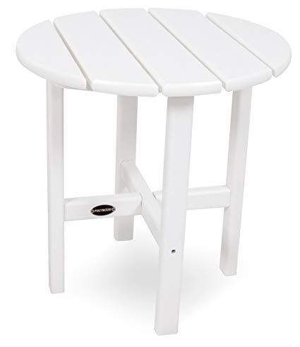 patio side table polywood rst18wh round 18 side table, white YJVXPAW