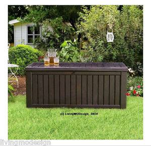 patio storage image is loading keter-rockwood-150-gallon-patio-storage-bench-weatherproof- DNKJQIG