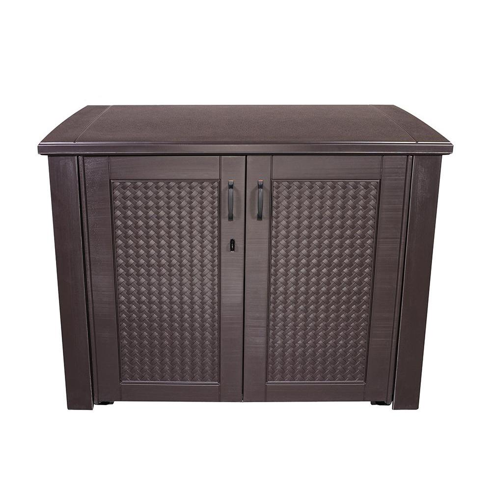 patio storage rubbermaid patio chic 123 gal. resin basket weave patio cabinet in brown ACNERJY