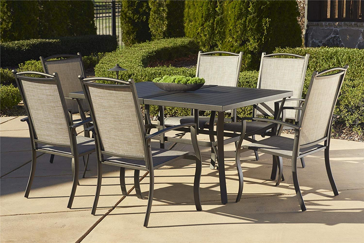 patio table sets amazon.com: cosco outdoor 7 piece serene ridge aluminum patio dining set, ISKPQVD