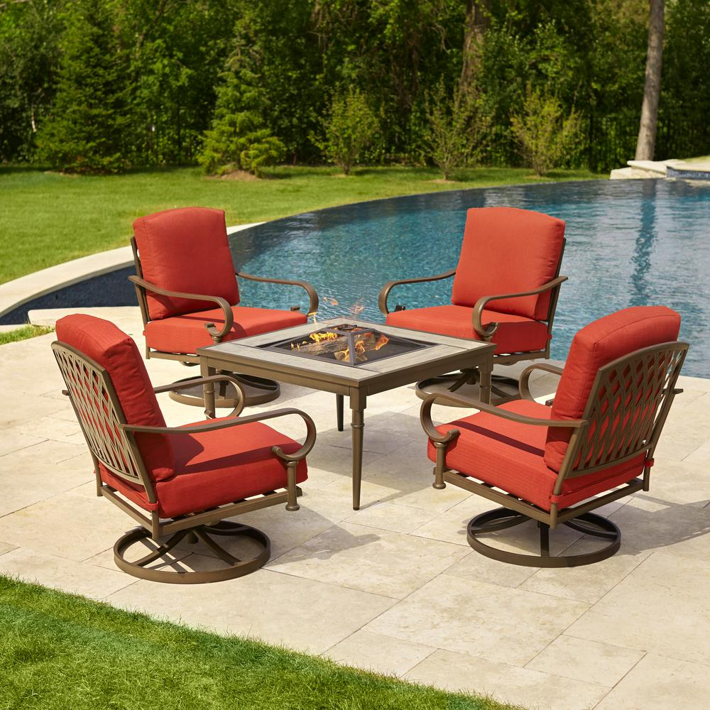 patio table sets hampton bay oak cliff 5-piece metal patio fire pit conversation set with GALVXHK