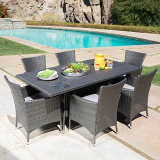 patio table sets malta outdoor 7-piece rectangle wicker dining set with cushions by  christopher PCLKGYG