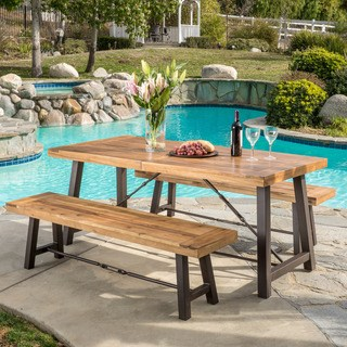 patio table sets outdoor puerto acacia wood 3-piece picnic dining set by christopher knight YDZQLLU