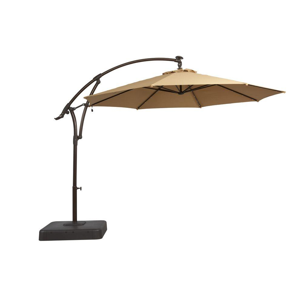 patio umbrellas solar offset patio umbrella in cafe-yjaf052-cafe - the home depot MOMFZQV