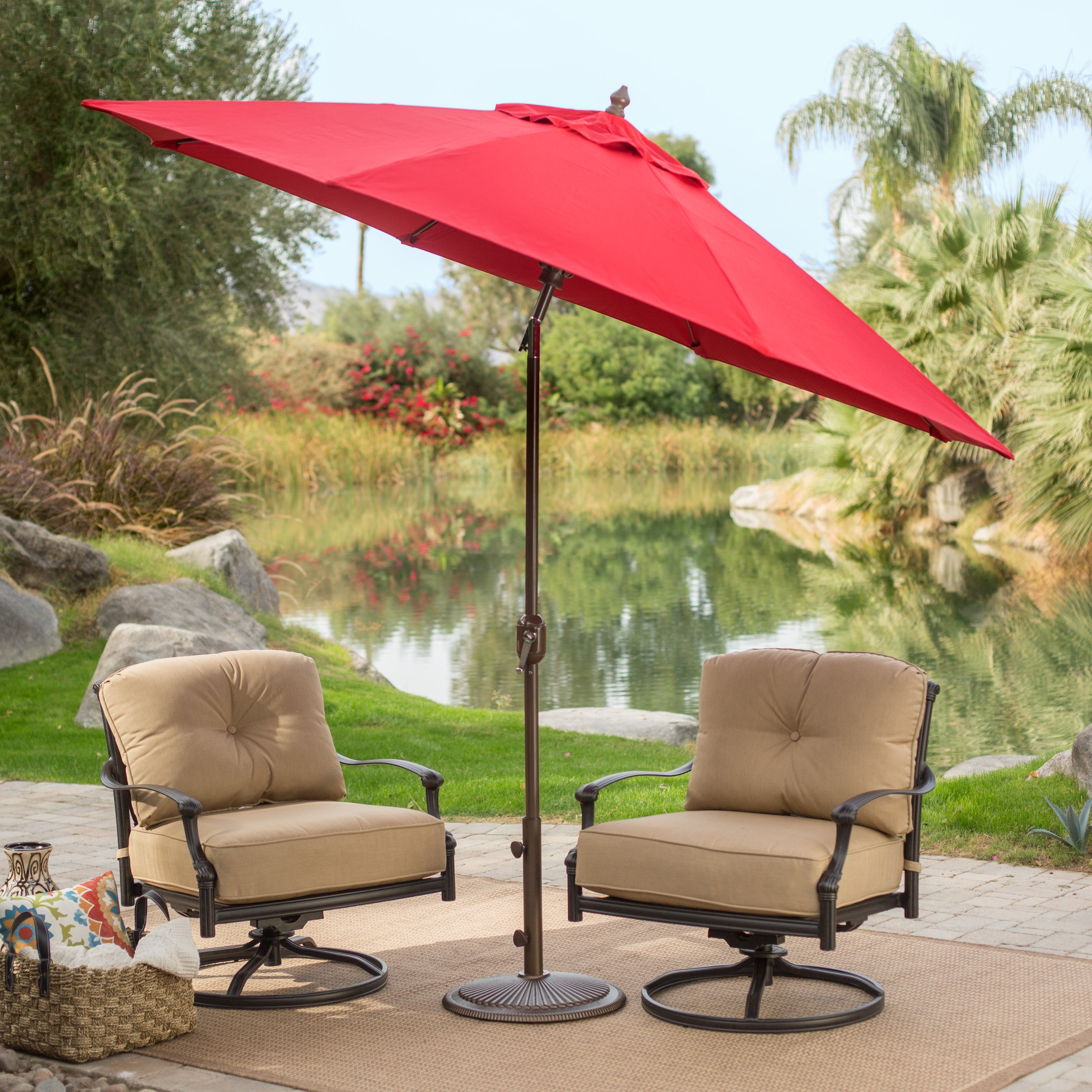 patio umbrellas sunbrella deluxe tilt aluminum patio umbrella - walmart.com IPQNXQB