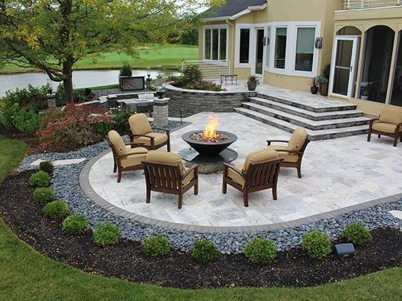 paver patio ideas stairs, firepit, paver patio with travertine, back yards, patio PDGUYQL