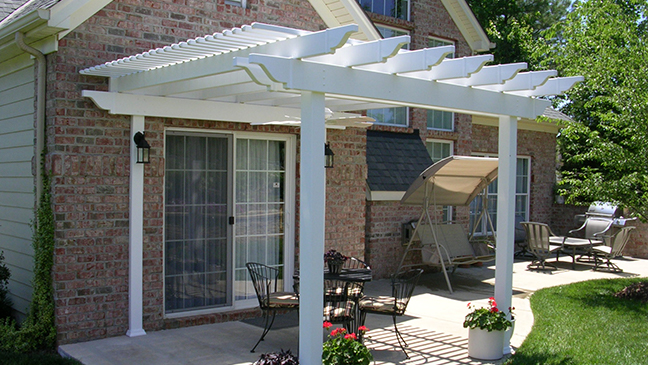 pergola kits patio transformed with attached low maintenance vinyl pergola kit u0026 fan NHEJLQZ