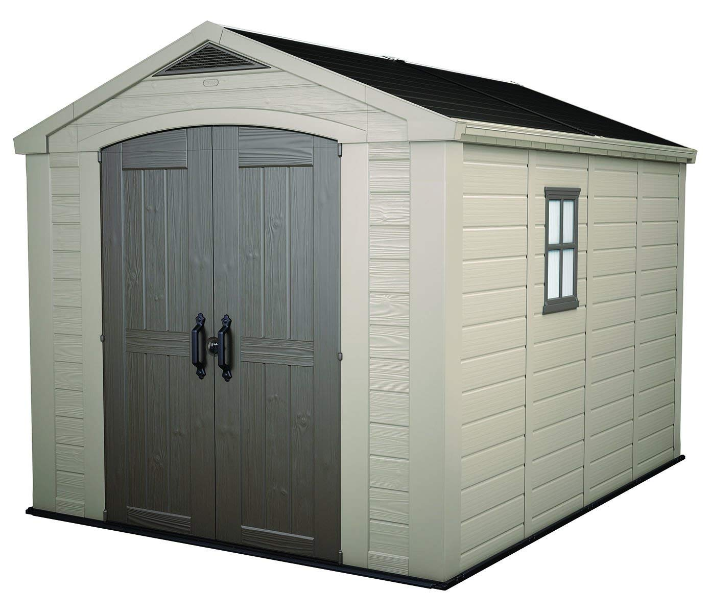 plastic garden shed amazon.com : keter factor large 8 x 11 ft. resin outdoor yard AAXOEMM