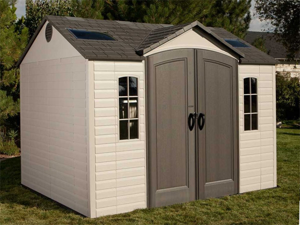 plastic garden shed leisurechoice apex 10ft wide plastic garden storage workshop ZXWMCGB