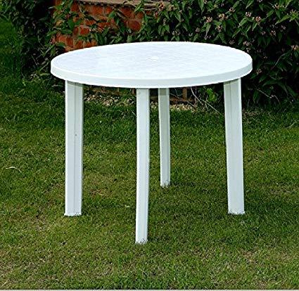 plastic garden table progarden round white plastic garden patio table parasol holder slot 326703 SBXVARZ