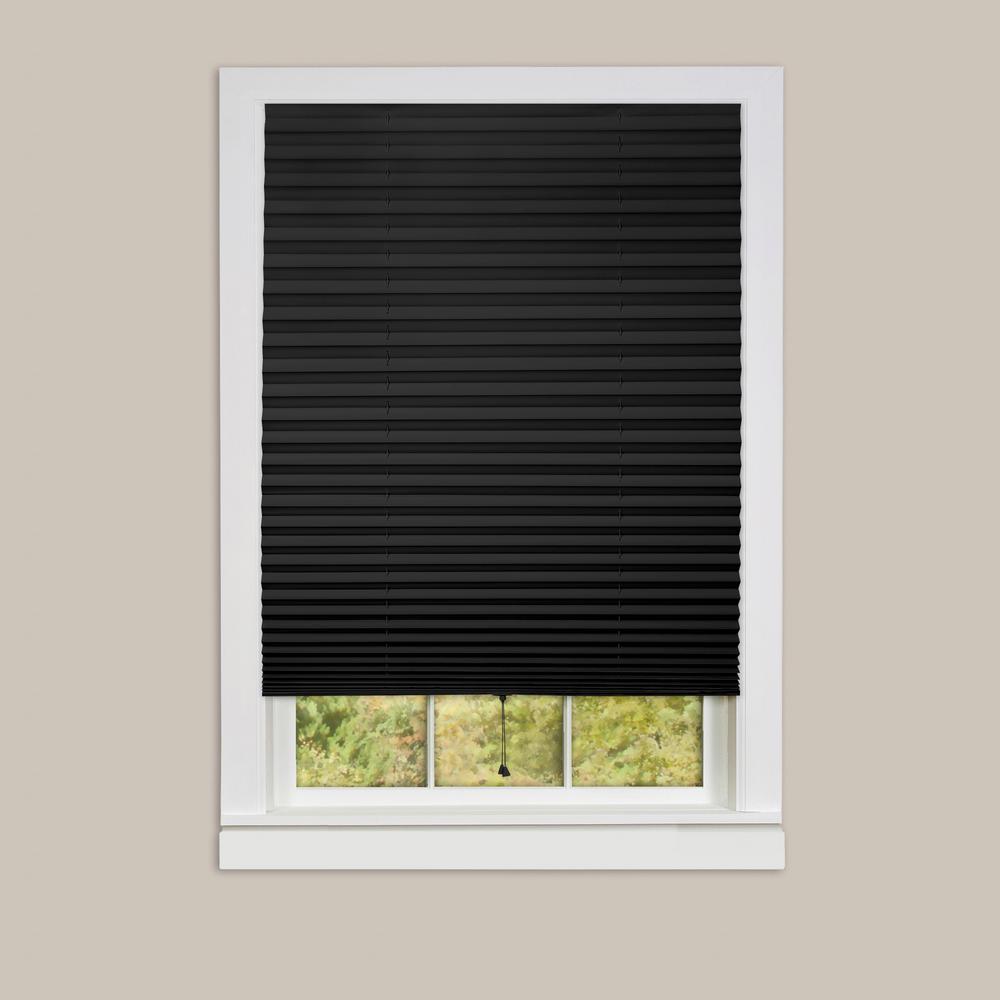 pleated shades achim 1-2-3 black vinyl room darkening window pleated shade - 48 in. NWJQZMV