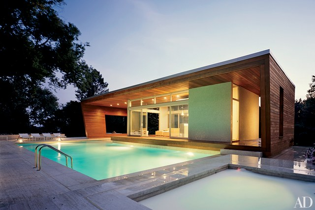 pool house designs architects hariri u0026 hariri designed this contemporary ipe-paneled poolhouse  in wilton, QMLCHKA