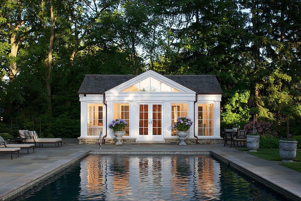 pool house designs traditional pool house in white with gray shingled roof [design: northworksu2026 NIOUSTH