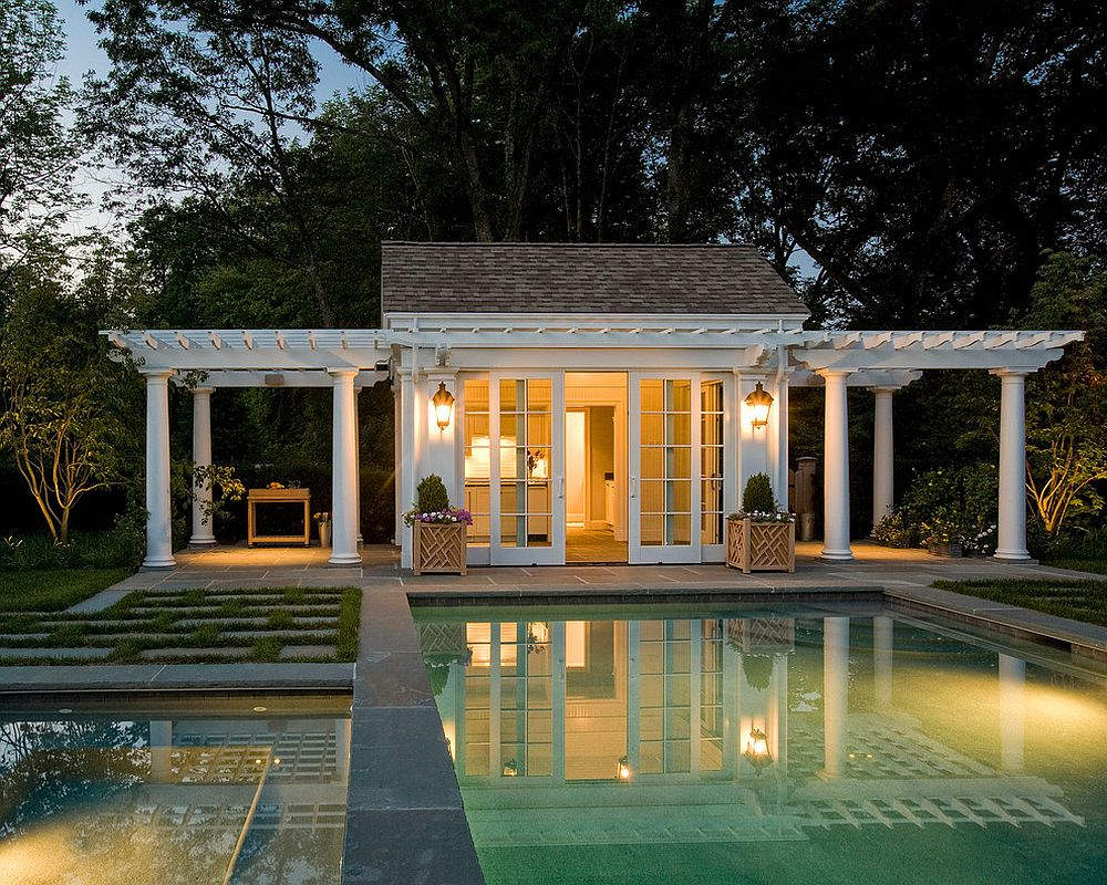 pool house designs view in gallery twin pergolas add elegance to the classic pool house NJVXNHH