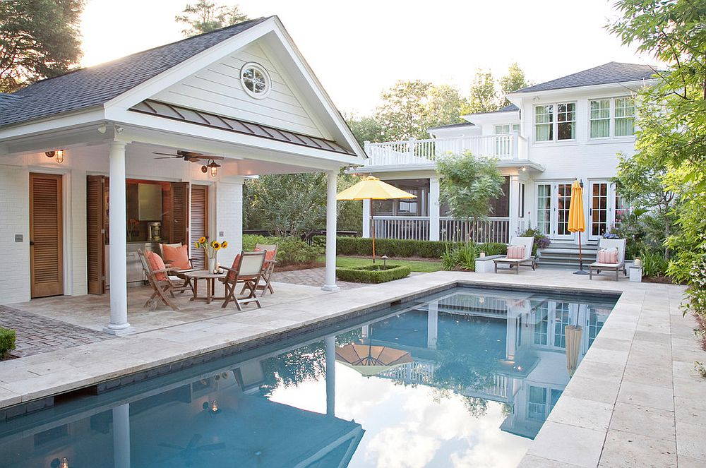 pool house ideas ... give the pool house a small kitchen and serving station to RIHZWIM