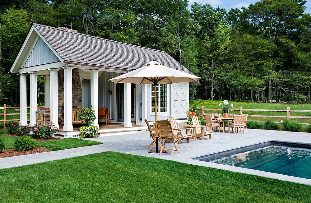 pool house ideas ... gorgeous pool house also provides sheltered outdoor lounge and  additional CLQRPOD